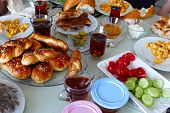 Turkish Breakfast Table, Making A Turkish Family Breakfast, A Turkish Family Is Doing Breakfast, poster