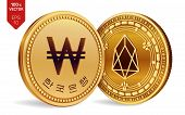 Eos. Won. 3d Isometric Physical Coins. Digital Currency. Korea Won Coin. Cryptocurrency. Golden Coin poster