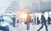 Business People In A Modern Office. Cityscape Foreground. International Business And Communication C poster