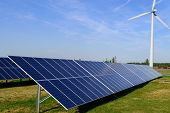 Solar Panel Produces Green, Environmentally Friendly Energy From The Sun With Blue Sky poster