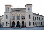 image of nobel peace prize  - The Nobel Peace Center in Oslo at Sunset - JPG