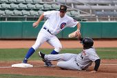 MESA, AZ - NOVEMBER 4: Mesa Solar Sox infielder DJ LeMahieu steps on the bag before  Salt River Raft