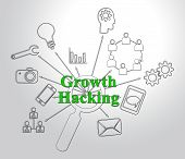 Growth Hacking Website Improvement Tactics 2D Illustration poster