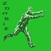 Zombie Soldier Run With Arms Outstretched Forward. Zombie Army. The Horror Genre. Vector Illustratio poster