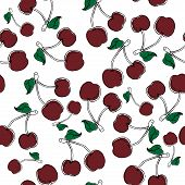 Seamless Pattern From Cherry Berries. Vector Of A Cherry Seamless Pattern. Hand Drawn Cherry. poster