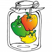 Pickled Peppers In A Jar Of Glass. Vector Illustration Of Pickled Bell Peppers.  Hand Drawn Sweet Pe poster
