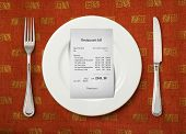 The bill on empty plate at restaurant
