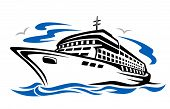 image of cruise ship  - Ship silhouette for transportation or travel design - JPG
