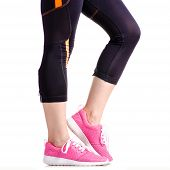 Female Legs Sports Leggings Sneakers Sports Exercises On A White Background Isolation poster