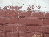 The Texture Is Painted Red And Peeling Brick With Putty. poster