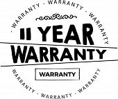 11 Years Black Warranty Icon Stamp Guarantee Vintage poster