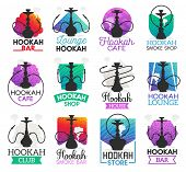 Hookah Icons And Symbols Isolated. Lounge Bar And Smoke Shop Icons, Hookah Club And House Emblems Ve poster