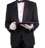 Man In Tuxedo Holding Serving Tray