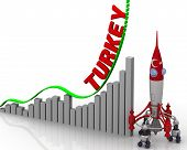 The Graph Of Turkey Success. Graph Of Rapid Growth With Red Word Turkey And Rocket With Turkish Flag poster