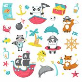 Pirate Icon Set. Vector Illustration Of Cute Animals Panda, Raccoon, Fox In Pirate Hats, Ship With P poster