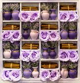Beige Wooden Provence Vintage Style Shelf For Home Decoration. Shabby Chic Style With Purple Flowers poster