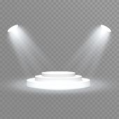 Stage Podium With Lighting, Stage Podium Scene With For Award Ceremony On Blue Background, Vector Il poster