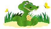Crocodile Tears. Green Crocodile. Cute Unhappy Dinosaur. Melancholy Cartoon Character. Cartoon Cryin poster