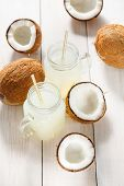 Refreshing Chilled Coconut Water And Coconuts. Healthy Food Concept. poster