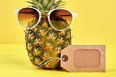 Close Up Pineapple In Stylish Sunglasses. Fresh Organic Ananas With Sunglasses And Blank Brown Label poster