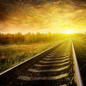 Railway at sunset.