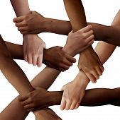 Diversity Teamwork As A Group Of Diverse People Holding Arms As A Multiracial Society And Multicultu poster
