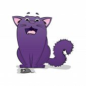Vector Of Cartoon Images Of Cute Different Purple Cat. Cowardly Cat. Cat Afraid Of The Mouse. Pet. V poster