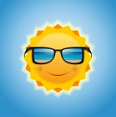 The Sun In Sunglasses, Which Reflects The Sea And The Beach. Smiling Sun With Sunglasses. Summer Sun poster