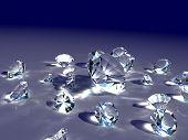 Diamantes sobre el fondo azul oscuro.