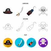 Pirate, Bandit, Cap, Hook .pirates Set Collection Icons In Cartoon, Outline, Flat Style Vector Symbo poster