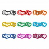 Sign Up Sign, Sign Up Icon, Color Icons Set On White Background poster