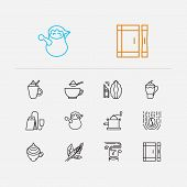 Tea Icons Set. Coffee Beans And Tea Icons With Turkish Coffee Pot, Sugar Sachet And Latte. Set Of Fr poster