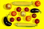 Pattern Of Vegetables. Colorful Food Background. Vegetables Over Yellow Background.abstract Vegetabl poster