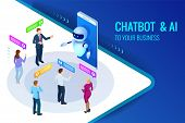 Isometric Artificial Intelligence. Chat Bot And Future Marketing. Ai And Business Iot Concept. Mans  poster