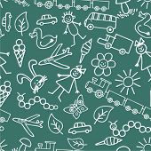 Children's drawings. Seamless background. Vector.