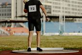 Men Pusher Preparing Shot Put At Track And Field Competition poster