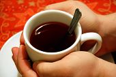 Hands Around A Cup Of Tea