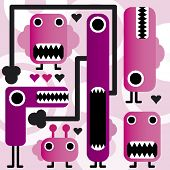 stock photo of freaky  - crazy weird freaky monsters in vector - JPG