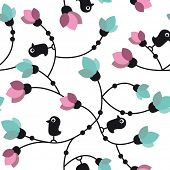Seamless flower birds pattern in vector