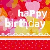 pic of happy birthday  - Colorful happy birthday card design with flowers in vector - JPG