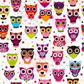 foto of owls  - Seamless colourfull owl pattern for kids in vector - JPG