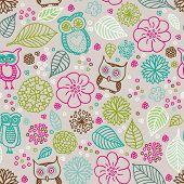 Seamless kid flower owl summer illustration pattern background in vector