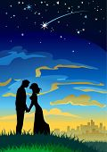 Your wishes come true. Couple silhouettes under starry sky