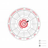 2019 Calendar Template.circle Calendar Template.calendar 2019 Set Of 12 Months.starts From Sunday.ye poster