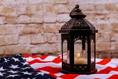 Candles Soft Light Against American National Flag Independence Day Patriot Day Veterans Day poster