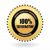 Постер, плакат: 100% удовлетворение гарантируют вектор Золотая Эмблема