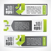 Web2 modern web style horizontal banner set with labels and arrows