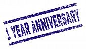 1 Year Anniversary Stamp Seal Watermark With Grunge Style. Blue Vector Rubber Print Of 1 Year Annive poster