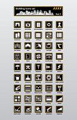 Vector building and reconstruction icons set