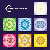 stock photo of vedic  - Vector Chakra Symbol Mandalas for Meditation  to Facilitate Growth and Healing - JPG